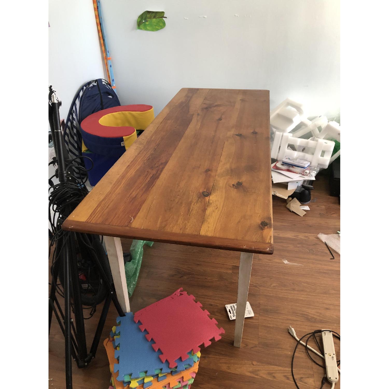 Farm Style Wood Table w/ White Legs-0