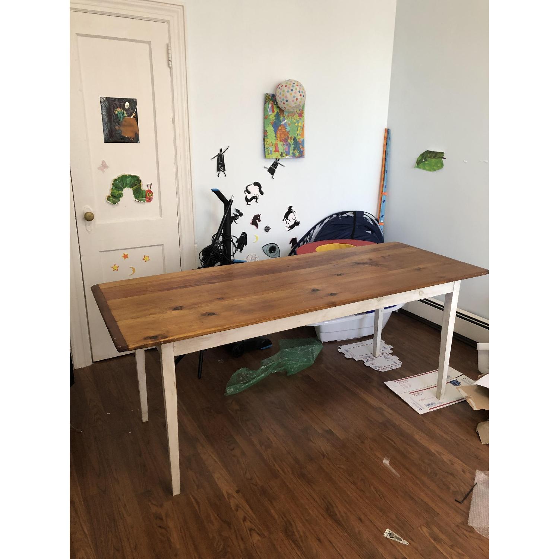 Farm Style Wood Table w/ White Legs-1