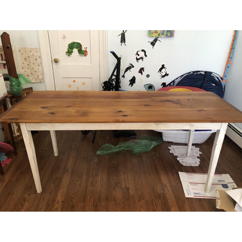 Farm Style Wood Table w/ White Legs-2
