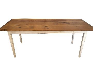 Farm Style Wood Table w/ White Legs