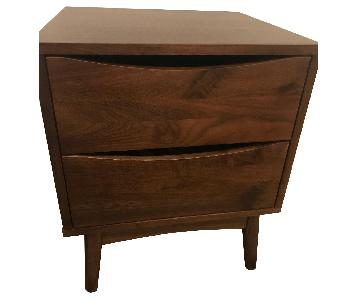 Mid Century Modern Veneered American Walnut Nightstands