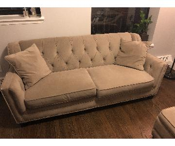 Bob's Velvet Tufted Studded Sofa