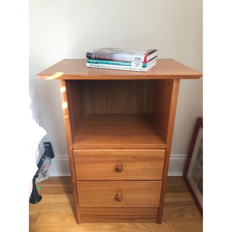 Vintage Teak Scandinavian 2 Drawer Nightstand-0