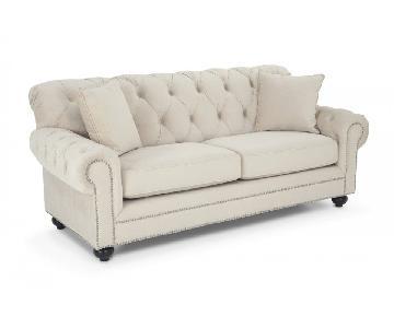 Bob's Ivory Microsuede Sofa