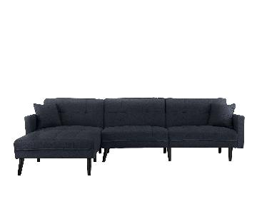 Romulo Mid Century Modern Linen Sleeper Sectional Sofa