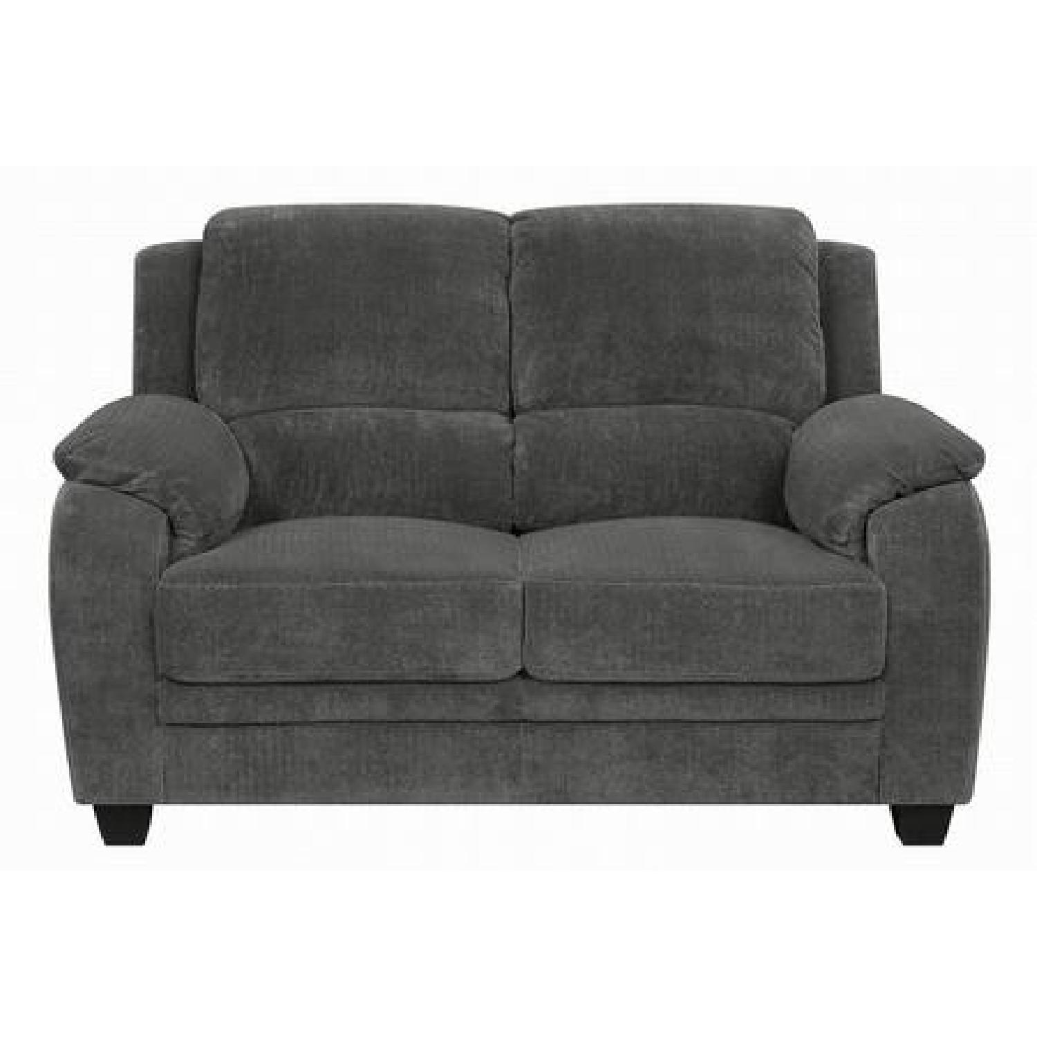 Charcoal Velvet Loveseat