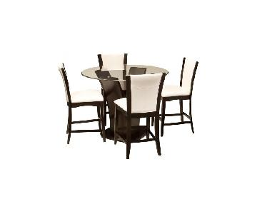 Raymour & Flanigan Round Glass & Wood 5-Piece Dining Set