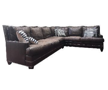 Ferguson Copeland Brown Leather Sectional Sofa w/ Nailheads