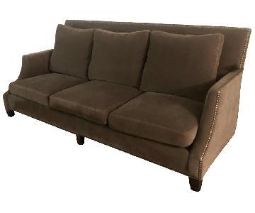 Safavieh Grey Velvet Sofa w/ Nailheads