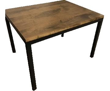 Custom Brown Wood Dining Table w/ Taupe Stain & Black Legs