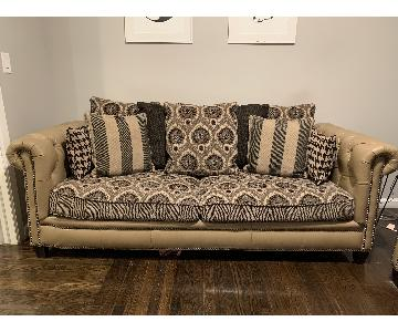 Craftmaster Leather Upholstered Sofa