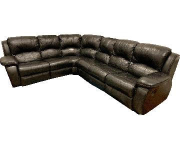 Black Leather 5-Piece Sectional Sofa w/ 2 Reclining Seats