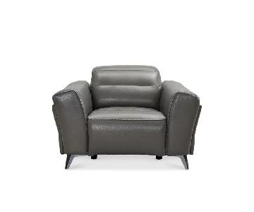Orren Ellis Paille Gray Leather Power Wall Hugger Recliner