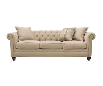 Raymour & Flanigan Tufted 3 Seater Sofa & Ottoman