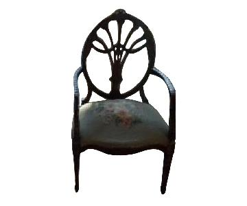 Hand Carved Reproduction Hepplewhite Arm Chairs