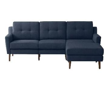 Burrow 2-Piece Chaise Sectional Sofa in Navy Blue