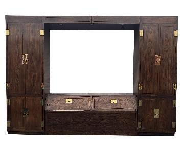 Henredon 1970s Campaign Style 4 Piece Bedroom Wall Unit