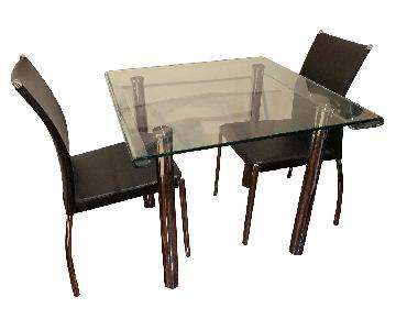 Raymour & Flanigan Glass & Chrome 3-Piece Dining Set
