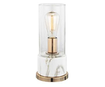 Clear Glass & White Faux Marble Table Lamp
