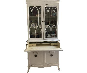 White Secretary Cabinet w/ Glass Doors
