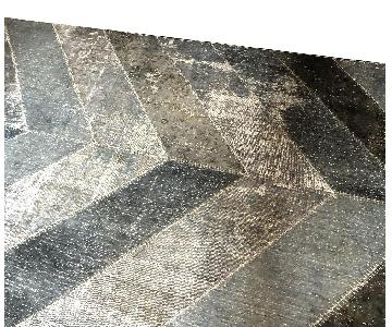 Aga John Chevron Patchwork Over Dyed Wool Area Rug
