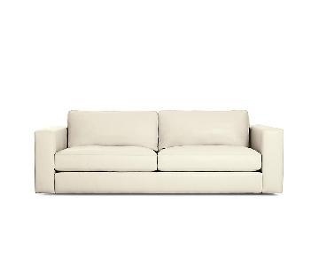 Design Within Reach White Leather Sofa