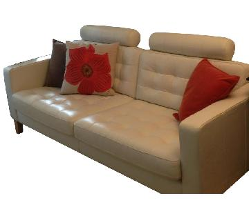 Ikea Karlstad White Leather Sofa w/ Headrests