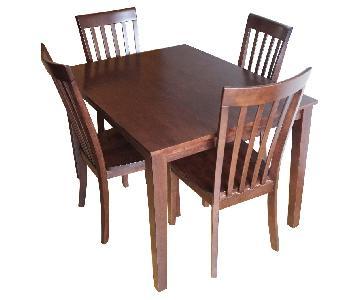 Raymour & Flanigan Dark Brown 5-Piece Dining Set