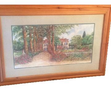 Country Estate Picture Framed in Solid Blonde Wood