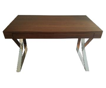 Z Gallerie Wood & Chrome Desk
