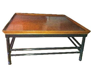 Cherry Wood & Metal Coffee Table