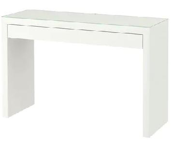 Ikea Malm Dressing Table in White w/ Glass Top