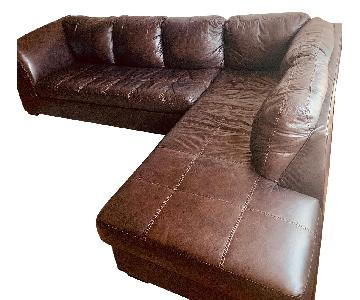 2-Piece Brown Faux Leather Sectional Sofa
