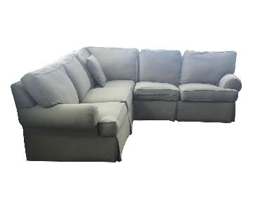 Ethan Allen 3-Piece Roll Arm Slipcovered Sectional Sofa