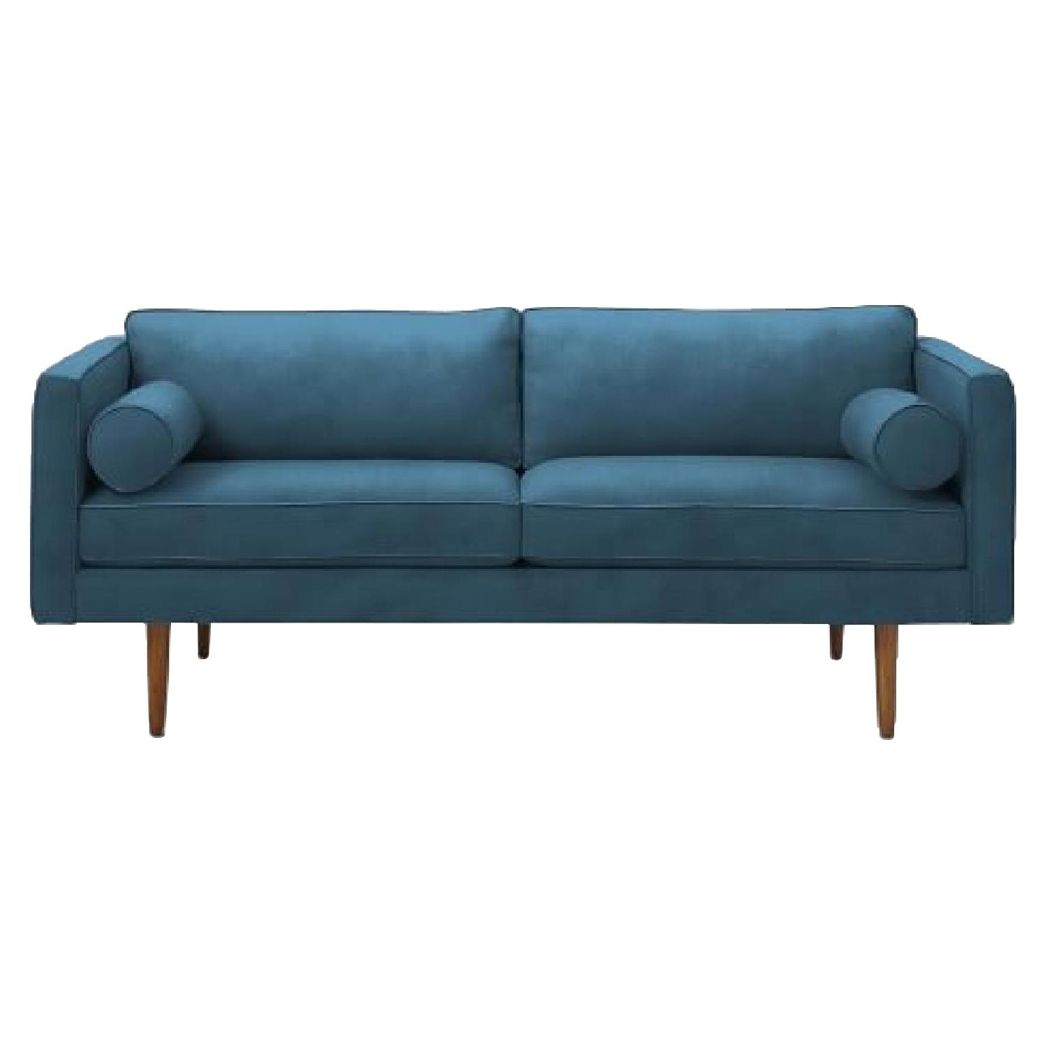 West Elm Monroe Mid-Century Sofa in Blue Velvet