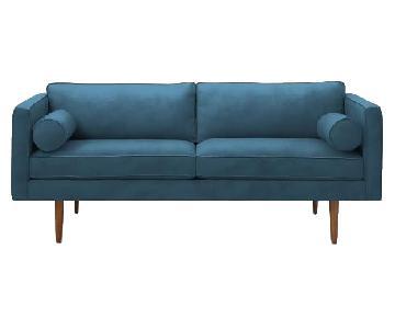 West Elm Monroe Mid-Century Sofa in Blue Velvet