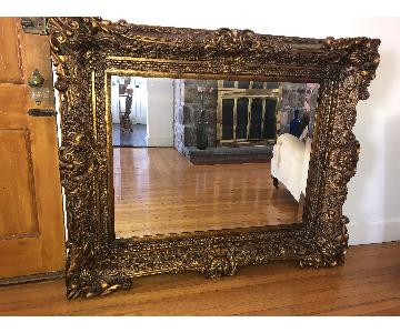 French Bronze Carved Beveled Mirror