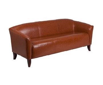 Porch & Den Stonehurst Cognac Faux Leather Sofa