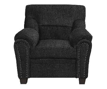 Graphite Chenille Fabric Accent Chair