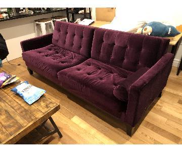 Urban Barn Purple Velvet Tufted Sofa