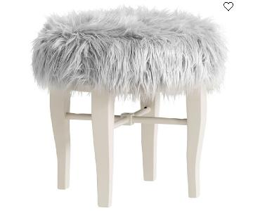 Pottery Barn Himalayan Glam Faux Fur Vanity Stool