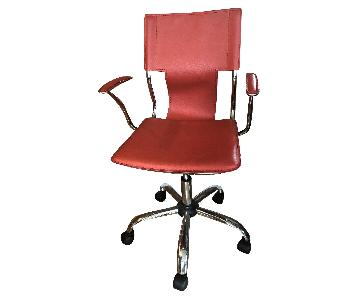 Modern Mid-Back Red Leatherette Office Chair w/ Steel Frame
