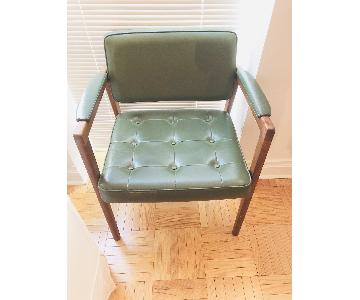 Antique Swedish Green Leather Chair