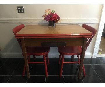 Vintage Wood Dining Table w/ 2 Ikea Chairs