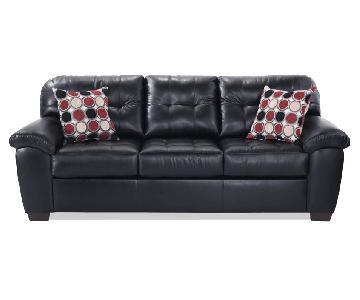 Bob's Faux Black Leather Sofa