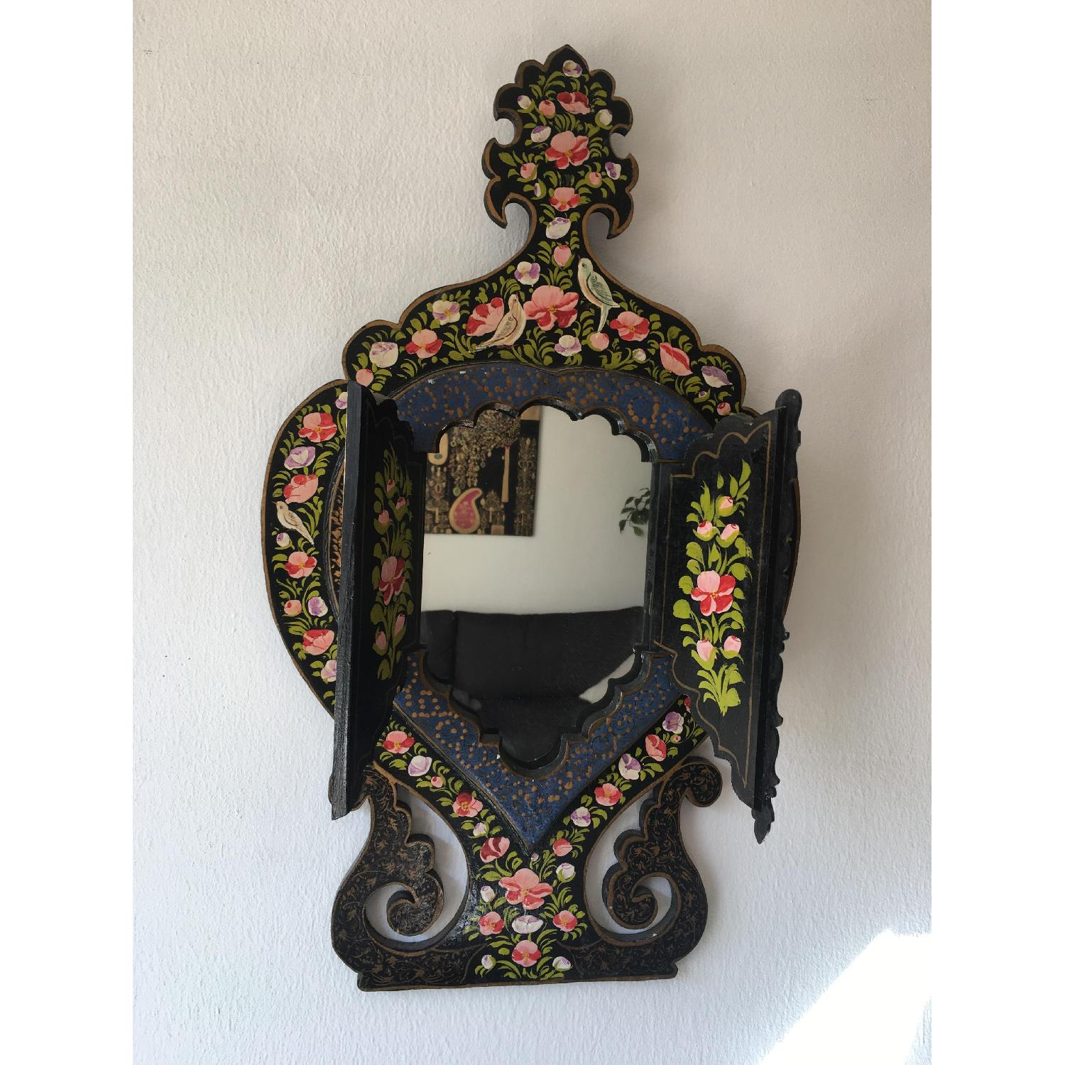 Antique Small Hand Painted Wooden Persian Mirror Frame - image-1