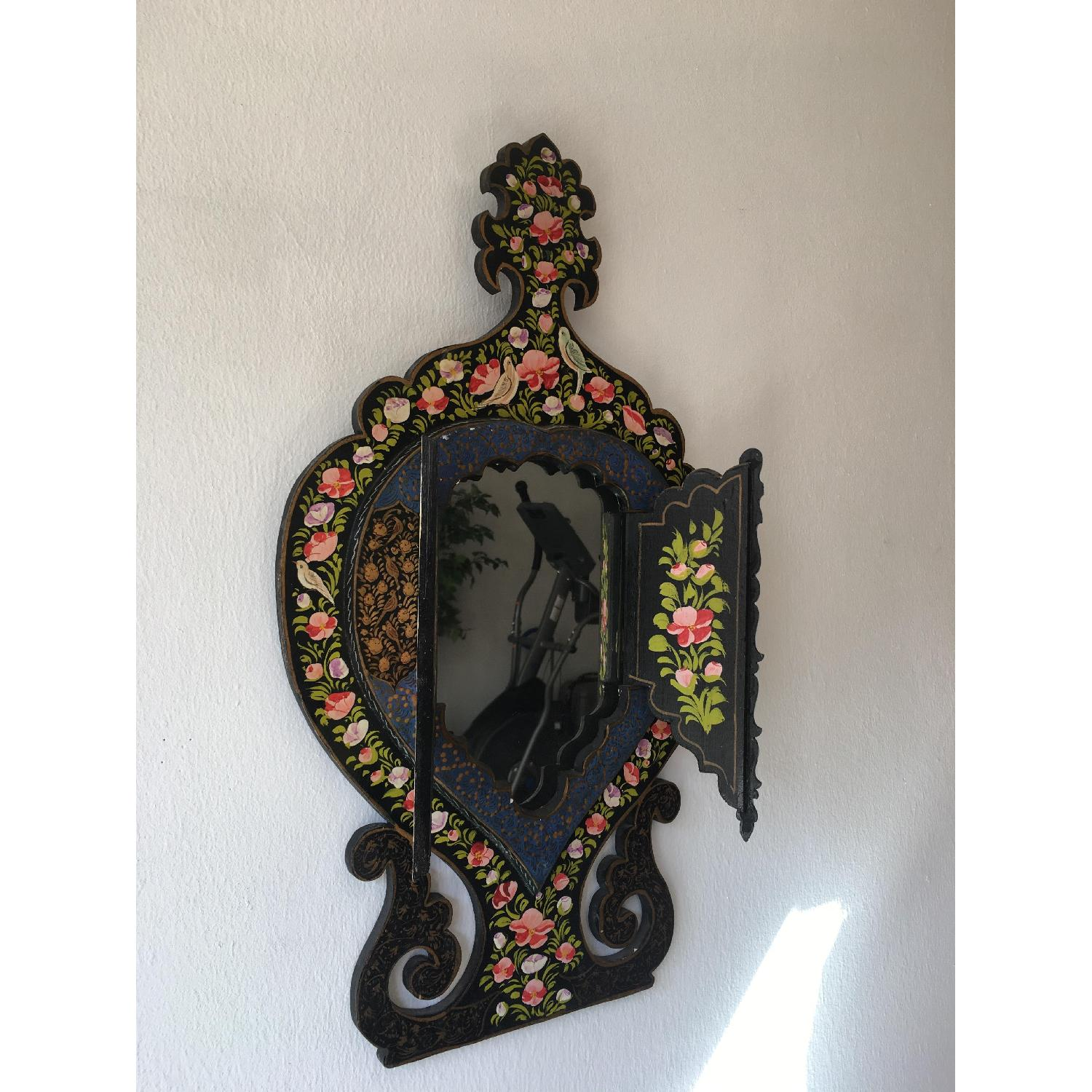 Antique Small Hand Painted Wooden Persian Mirror Frame - image-2