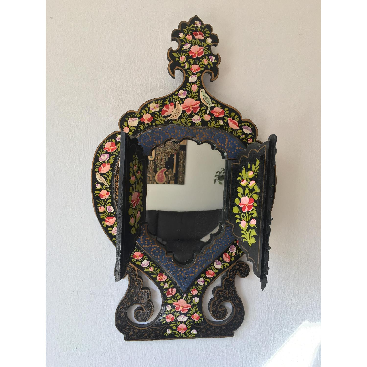 Antique Small Hand Painted Wooden Persian Mirror Frame - image-7