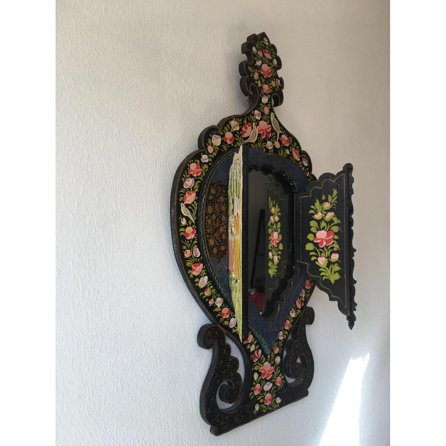 Antique Small Hand Painted Wooden Persian Mirror Frame - image-8
