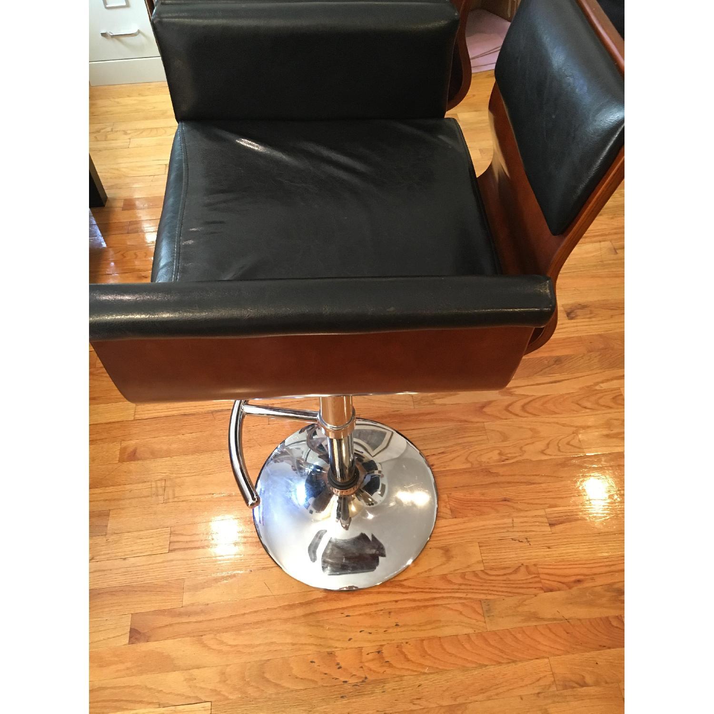 Black Leather & Wood Bar Stool - image-2